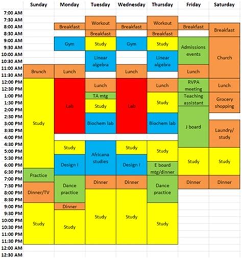 time management schedule template for high school students creating a work school balance a college student