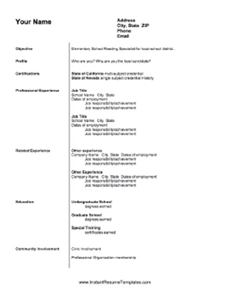 Elementary Reading Specialist Resume by Teaching Resume Template
