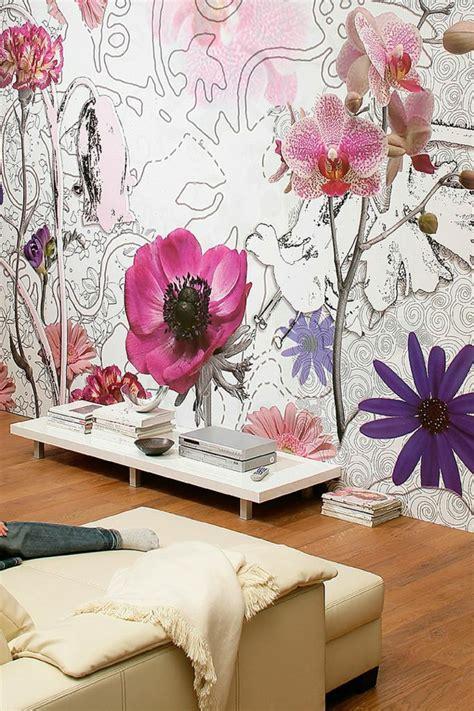 fleurs dans une chambre 50 photos avec des idées pour poser du papier peint intissé