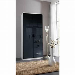 Armoire Noir Laqué : armoire design 2 portes 3 tiroirs noir laqu blanc orphea matelpro ~ Teatrodelosmanantiales.com Idées de Décoration