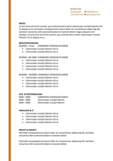 Vorlagen Für Bewerbungen Und Lebenslauf by Vorlage Bewerbung Und Lebenslauf Mit Orange Linie Cv