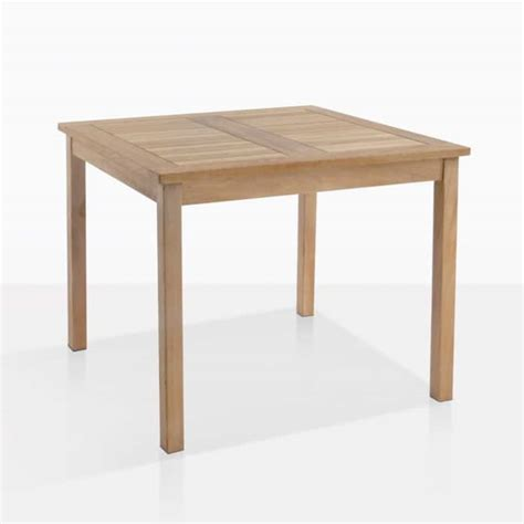 bistro style square teak table outdoor dining design