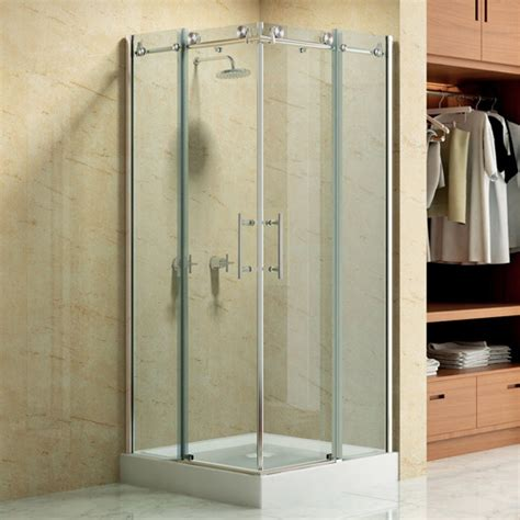 square frameless corner shower enclosure