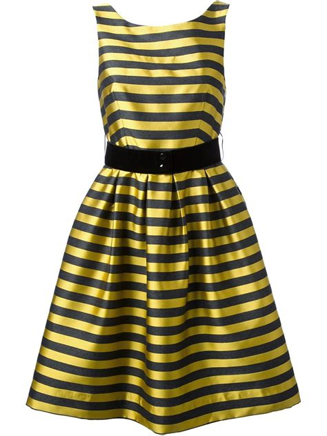 robe jaune et noir yellow and black striped dress dress edin