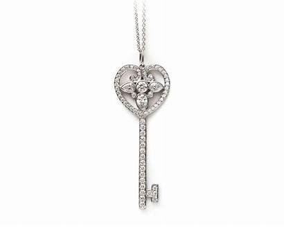 Tiffany Key Heart Diamond Pendant Platinum Keys