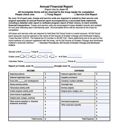 financial report template word sample financial report 6 documents in pdf