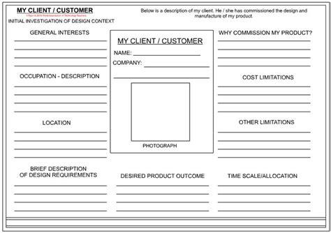 client customer profile sheet textile design client