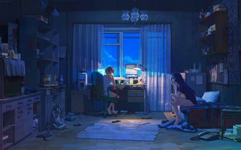 anime girl room night computer
