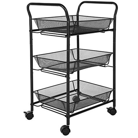 kitchen storage basket songmics 3 tier rolling storage cart for kitchen pantry 3118