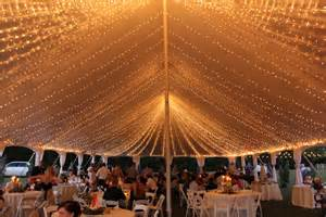 farm wedding of the tent lights
