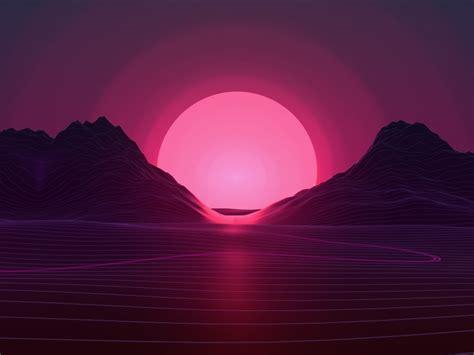 wallpaper sunset neon pink  creative graphics