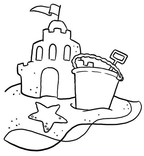 Coloring With Sand by Sand Castle With And Shovel Coloring Page