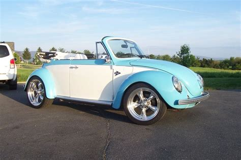 Vw Beetle White And Baby Blue Convertible