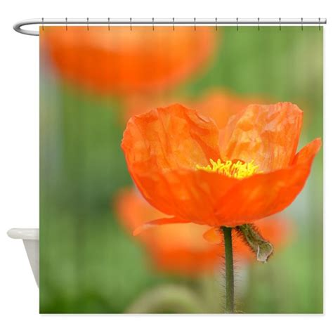 orange poppy flower shower curtain by be inspired by life
