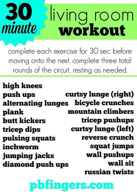 Living Room Workout Routine by 30 Minute Living Room Workout Peanut Butter Fingers