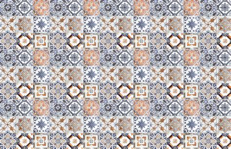 multicoloured portuguese tile effect wallpaper murals