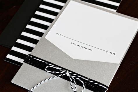 maurines black  silver  birthday party invitations