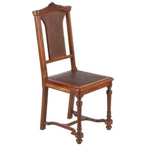 Antique French Accent Chairs by French Renaissance Style Leather Seat Chair Late 1800s At