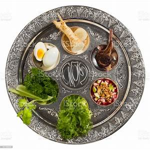 Seder Plate With Traditional Food Isolated Stock Photo - Download Image Now - iStock