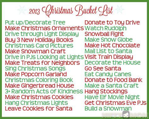 christmas bucket list ideas with printable christmas
