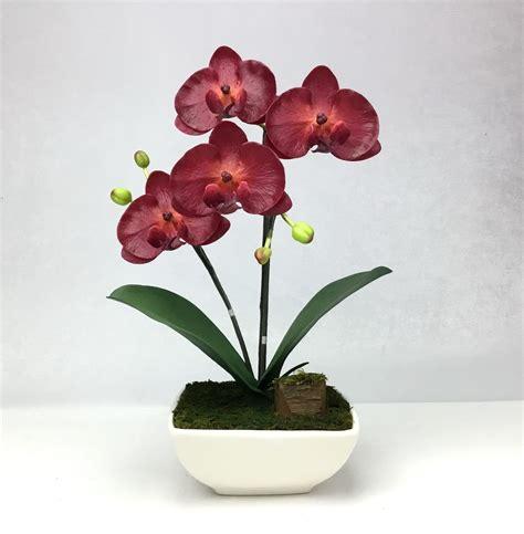 ดอกกล้วยไม้ปลอม phalaenopsis จัดในกระถางเซรามิค สำหรับประดับตกแต่งบ้าน