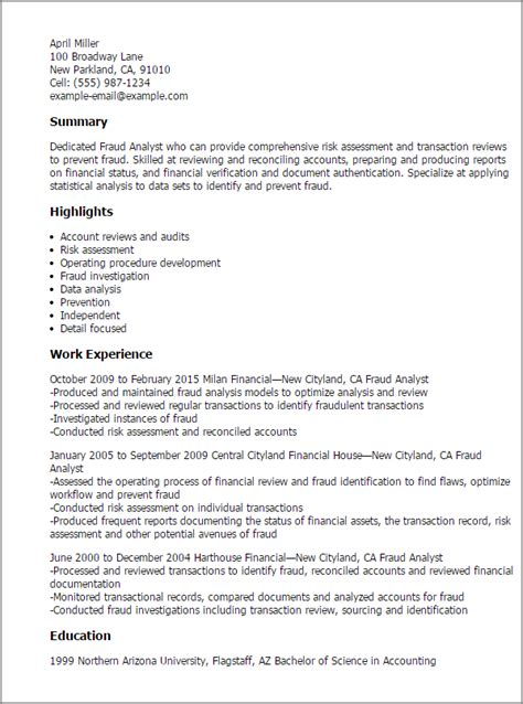 Fraud Analyst Resume Template professional fraud analyst templates to showcase your