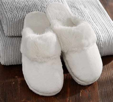 pottery barn slippers faux fur slippers pottery barn