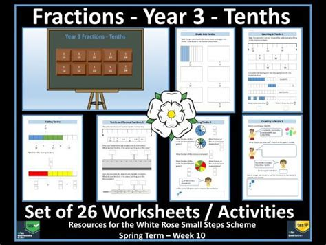 fractions year 3 tenths worksheets by krazikas