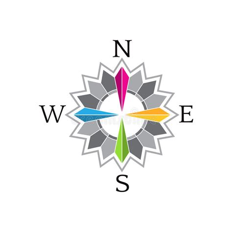 Abstract Compass Rose Image Logo Stock Vector
