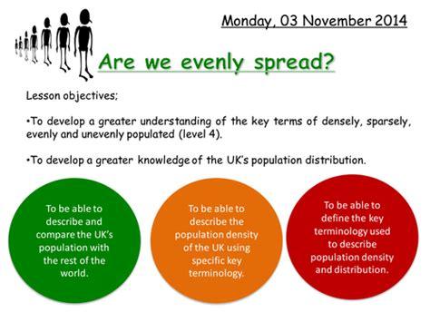 population distribution   evenly spread