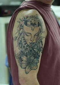 Renaissance theatre mask tattoo