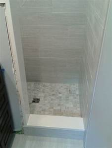 Small bathroom stand up shower tile tile work for Small tiled showers