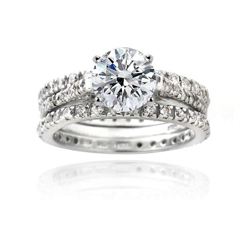 925 silver 2ct cz engagement bridal wedding ring set ebay