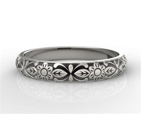 Flower Engraved Wedding Band  Vidar Jewelry Unique