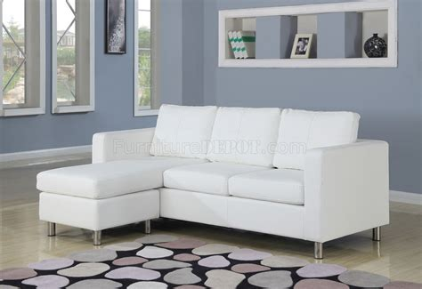 Small White Loveseat by 15068 Kemen Sectional In White Vinyl Sofa By Acme