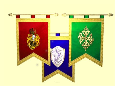 second life marketplace medieval banner flags includes three knights standards