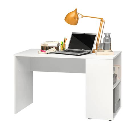 bureau basika bureau avec étagères blanc