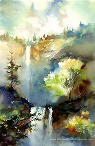 Waterfall Painting Print. Landscape Watercolor Art by ...