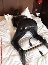 Latex slave rubber bondage
