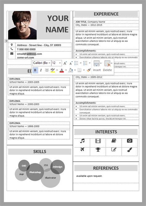 organized table formatted  fully editable