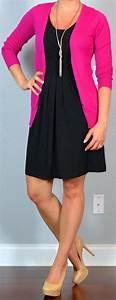 Outfit post twofer black dress pink cardigan nude pumps u0026 black suit burgundy camp shirt ...