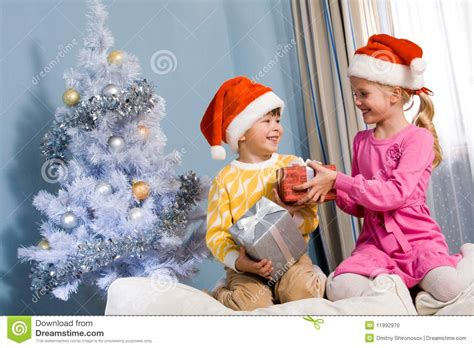 Exchanging Gifts Stock Photo   Image: 11992970
