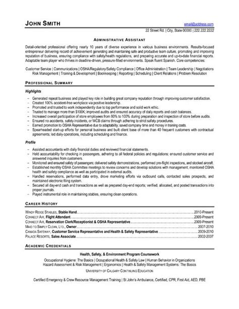administrative assistant resume templates health
