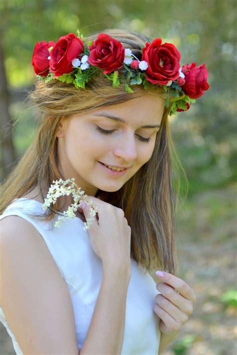 bridal flower crown adult roses floral headband red