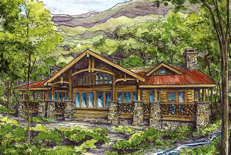 Log Home Plan With Twin Master Suites