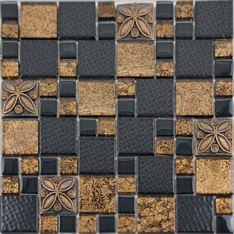 Black Porcelain Mosaic Tile Designs Gold Glass Tiles
