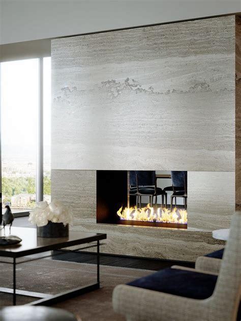 contemporary travertine stone fireplace interior design