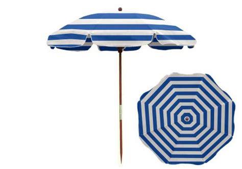 7 5 ft blue and white stripe wood umbrella