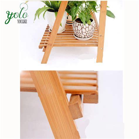multi level plant stand  tier bamboo platform garden patio outdoor flower shelf buy bamboo