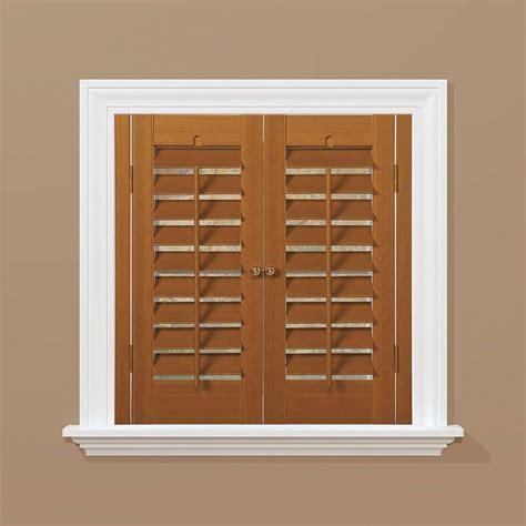 homebasics plantation faux wood oak interior shutter